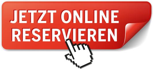 Button Jetzt online reservieren rot mit Maushand