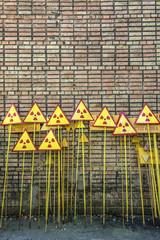 warning signs in Pripyat, Chernobyl Zone of Alienation, Ukraine