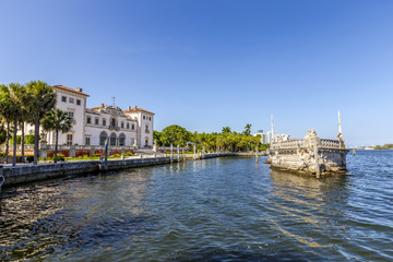 Stone breakwater barge and Magnificent Mansion,Vizcaya on Biscay