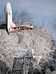 Basketball  hoops in the winter