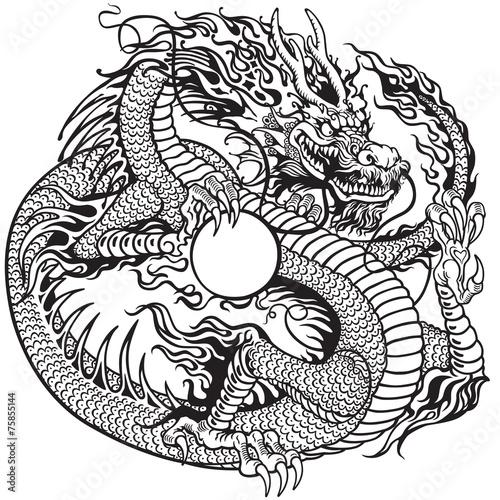 dragon holding pearl black white - 75855144