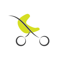 Vector sign green stroller, child born