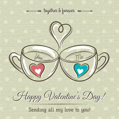 valentine card with two cup of hot drink and wishes text,  vecto