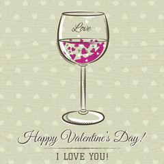 romantic card with glass of wine and wishes text,  vector