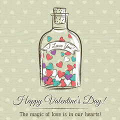 valentine card with jar filled with hearts and wishes text,  vec
