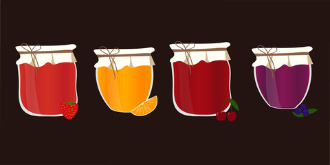 Vector set with homemade jam. Friut confiture.