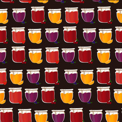 Vector seamless pattern with homemade jam. Friut confiture.