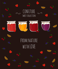 Vector card with fruit and berry jams, with text for design.