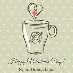 valentine card with cup of hot drink and wishes text,  vector il