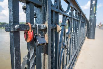 love padlocks on a bridge in Warsaw, Poland