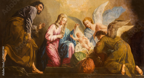 Fotobehang Wenen Vienna - Nativity paint in presbytery of Salesianerkirche