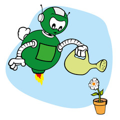 Mascot robot, under general services and watering flower