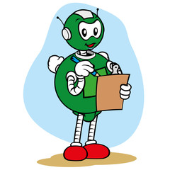 Mascot robot general services and writing on clipboard