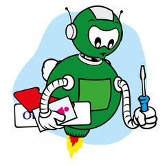 Mascot robot general services and holding tool for repairs