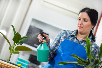 Housewife with flower in pot, selective focus