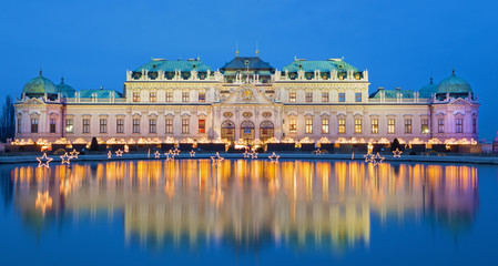 Vienna - Belvedere palace at the christmas market in dusk