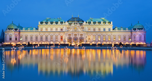 Vienna - Belvedere palace at the christmas market in dusk - 75856969