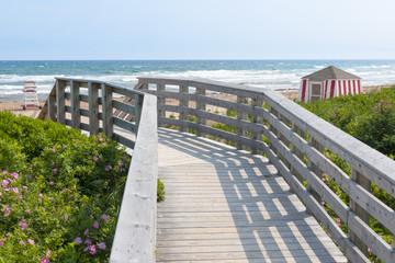 Wooden walkway to ocean beach