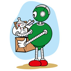 Mascot general service robot and writing clipboard package