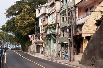Streets of Favela Vidigal in Rio de Janeiro, Brazil
