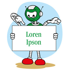 Mascot robot, under general services and holding a sign
