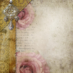 Vintage background with  roses, lace, text I Love you over retro
