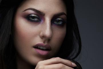closeup beauty woman makeup