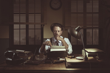 1950s journalist in his office late at night