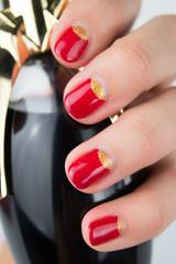 red half moon nail art manicure