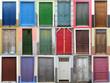 Leinwanddruck Bild - 18 Holztüren
