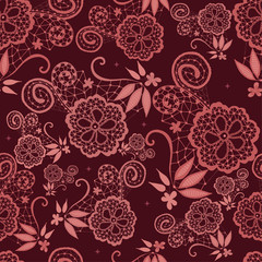 Hand-drawn flowery design with lace in Marsala tones