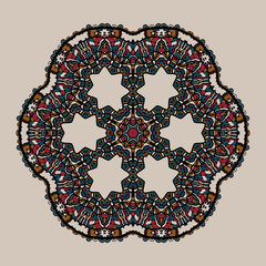 Mandala. Stylized tribal art. Ornate lace medallion