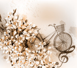Floral retro background with flowers, bike and treble clef