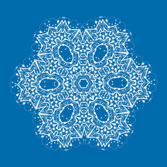 Outlined mandala on blue background. Vintage decorative element