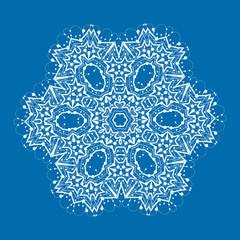 Outlined mandala on blue background. Vintage decorative element