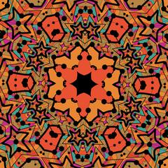 Tribal seamless design in orange color. Seamless mandala