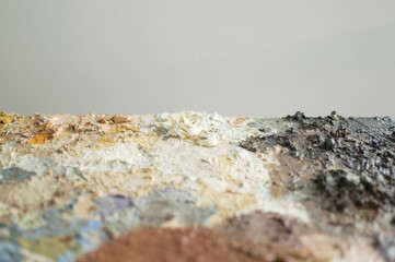 Part of painting palette with gray background for copy space