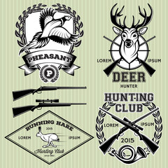 set of emblems with a deer, hare, pheasant for hunting