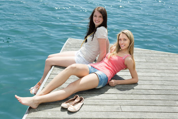 Girls taking sunbaths