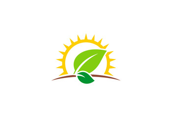 sun leaf landscape nature vector logo