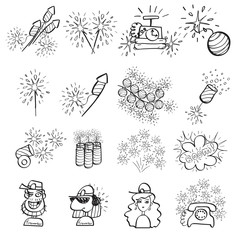 Pyrotechnic set of doodle icons, line art