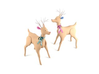 Deer dolls isolated