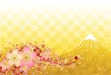 桜と富士山と金色の市松模様 - 75862355