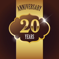 20 Years Anniversary, Golden Design Template /Background / Seal