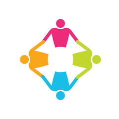 Teamwork People in circle 4. Holding hands logo