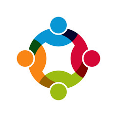 Social Network, Group of 4 people logo