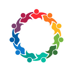 Teamwork holding group of 11 people logo