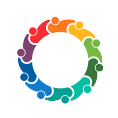 Teamwork holding group of 10 people logo