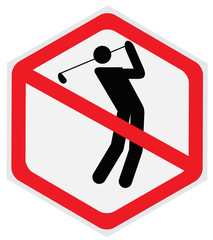 Golf, player, prohibition, sign, hexagon