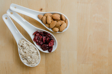 Spoons of Oats, Cranberries, and Almonds
